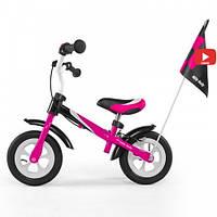 Беговел Milly Mally Dragon Deluxe с надувными колесами розовый