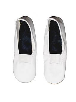 Детские чешки из кожзаменителя с замшевой подошвой (Белые) 14 см, Белый