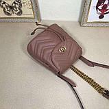 Рюкзак Гучи Marmont стёганный, цвет нюдовый, натуральная кожа, фото 9