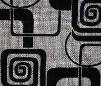Мебельная ткань рогожка с флоком. Квадрат черный