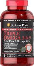 Омега 3 6 9, Puritans Pride Maximum Strength Triple Omega 3-6-9 Fish, Flax & Borage Oils 240 softgels