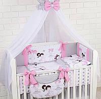 """Полный комплект постельного белья """"Балерины в сердечках"""" серо-розового цвета из 8 предметов, фото 1"""