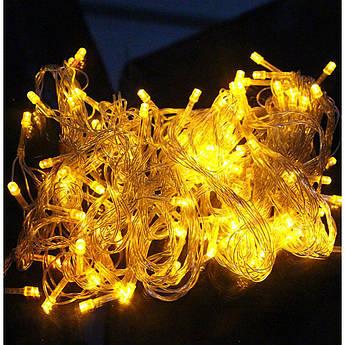 Гирлянда бахрома на 100 led желтая (прозрачная гирлянда)