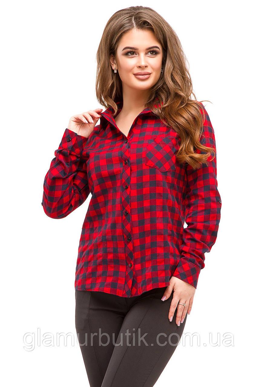 8d635de9073 Женская байковая рубашка в красную с синим клетку с длинным рукавом 42 44  46 48 -