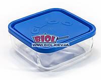Посуд скляний 0,95 л квадратний з синьою пластиковою кришкою Borgonovo