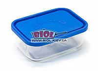 Посуд скляний 1,3 л прямокутний з пластиковою кришкою Borgonovo