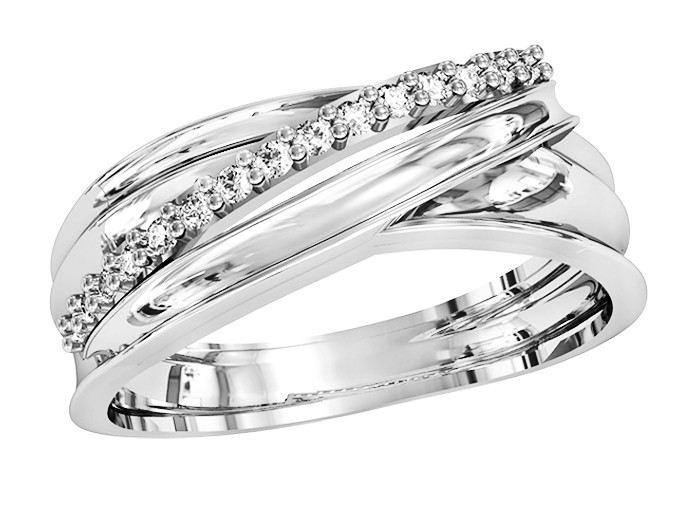Кільце жіноче срібне Діамантова смуга 111 670
