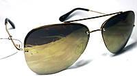 Солнцезащитные круглые золотые очки Унисекс (капельки)