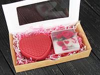 Подарочный набор мыло ручной работы в форме сердца для влюбленных