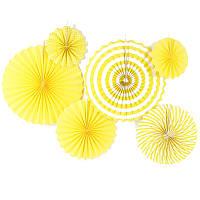 Набор желтых бумажных вееров с полосами для декора