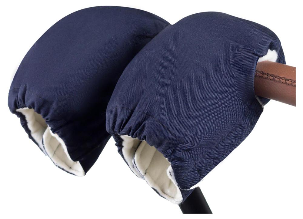 Рукавицы Babyroom на коляску  темно-синий (белый флис)