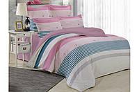 Двуспальный комплект постельного белья ТЕП Washed cotton 005 Lines (Пудрова смужка)