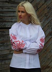 Красивая вышитая батистовая блузка Розовая симфония