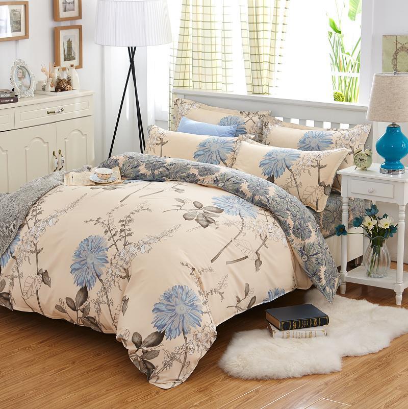 Евро комплект постельного белья ТЕП Washed cotton 007 Bell (Гербера синя)