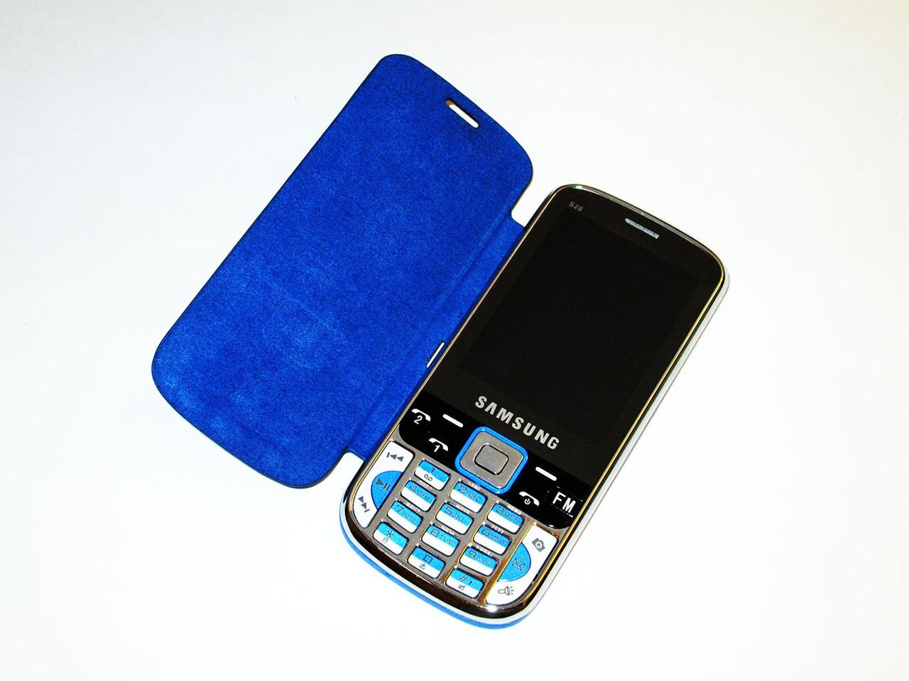 """Телефон Samsung S28 Синий - 2Sim + 2,8"""" + Чехол"""