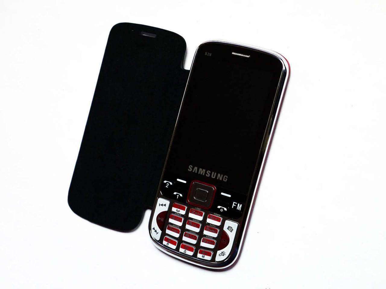 """Телефон Samsung S28 Черный - 2Sim + 2,8"""" + Чехол"""
