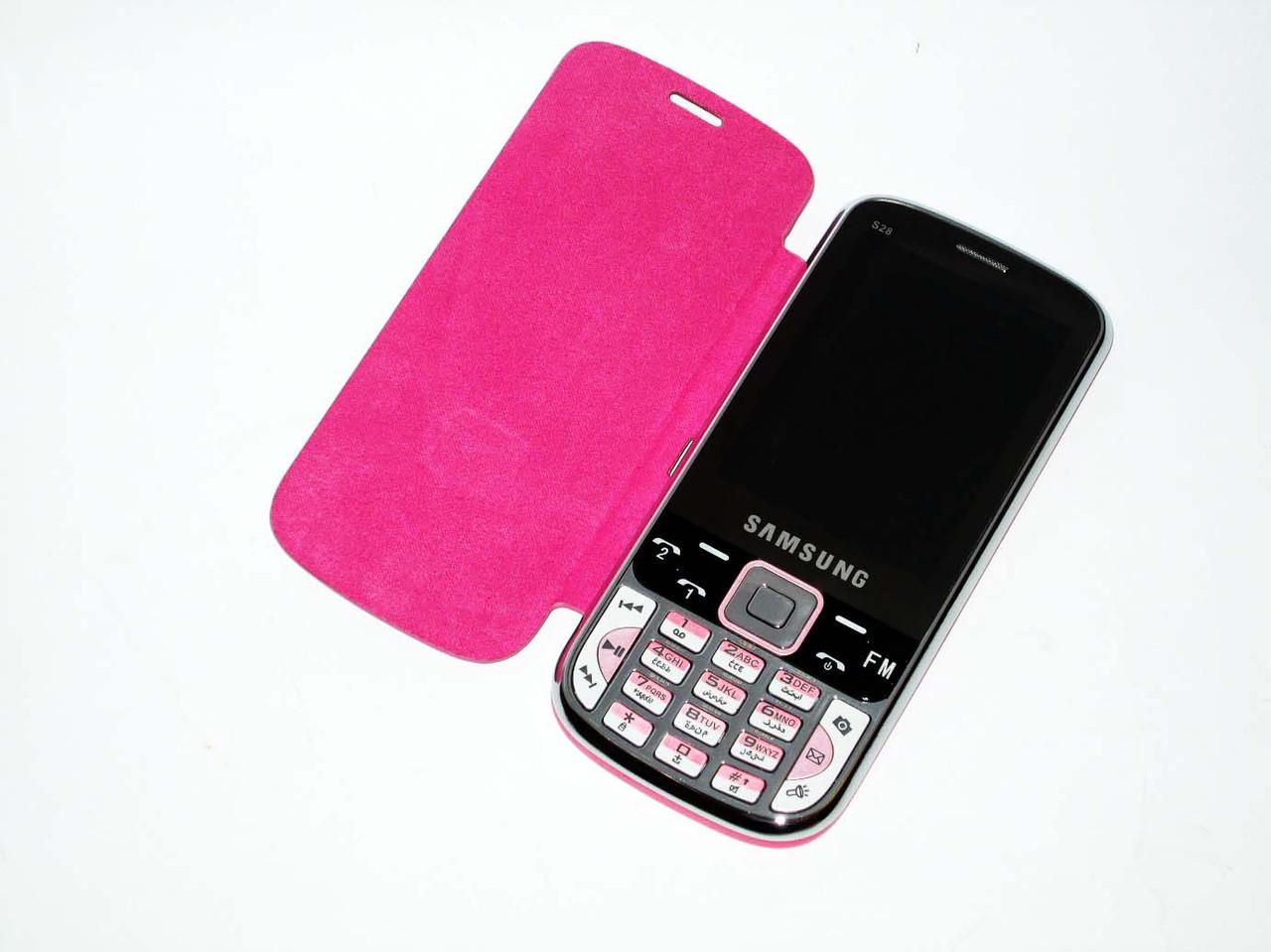 "Телефон Samsung S28 Розовый - 2Sim + 2,8"" + Чехол"