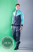 Мужской спортивный костюм Nike штаны и куртка с капюшоном комбинированный синий с ментоловым 46 48 50 52