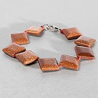 Авантюрин золотой песок, браслет, 141БА