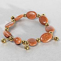 Авантюрин золотой песок, браслет, 142БА