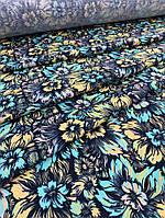 Одежная ткань Французский трикотаж принт цветы, фото 1
