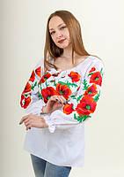 Шикарная батистовая вышитая блузка с маками  Любава