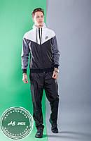 Мужской спортивный костюм Nike штаны и куртка с капюшоном комбинированный чёрный с белым 46 48 50 52