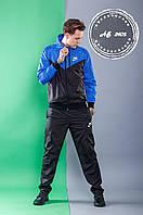 Мужской спортивный костюм Nike штаны и куртка с капюшоном комбинированный чёрный с синим 46 48 50 52