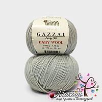 Пряжа Бэби вул Baby Wool Gazzal, №817, св. серый