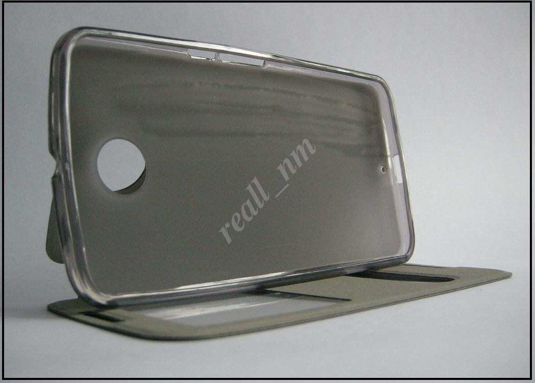 Черный кожаный чехол-книжка для смартфона Motorola Nexus 6  XT1100 XT1103