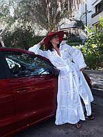 Шикарное платье из натурального легкого льна с кружевом , белоснежное облако . Можно на садьбу, фото 1