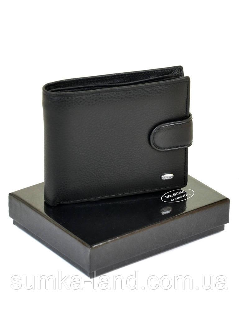 Мужской классический кожаный кошелек Dr. Bond черный (12*9,5 см)