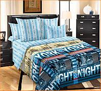 Полуторный комплект постельного белья Нью-Йорк с простыню на резинке /7A12С1 - 129 Подростковый