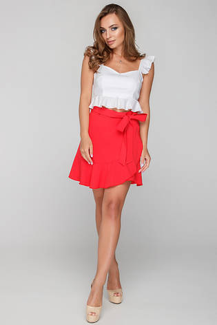 Жіноча міні юбка на запах червоний розмір 42 44 46 359fc917c3e9e