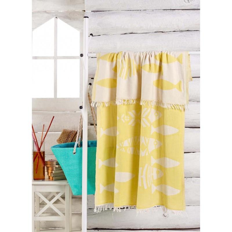 Полотенце Eponj Home Jakarli - Balik sari желтый 100*180