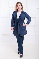 Модный кардиган большого размера с ангоры Палермо джинс (52-62)  купить