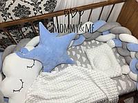 Бортик- косичка , защита в кроватку на три стороны кроватки, длина 240 см
