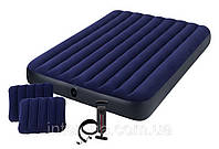 Надувной матрас Intex 64765 Classic Downy Airbed 203х152х25см насос+ 2 подушки