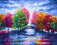 Картина по номерам Деревья у мостика
