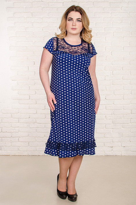 3b39e386eb8c9c1 Красивое летнее платье большого размера Венеция синее в белый горох (50-66)  -