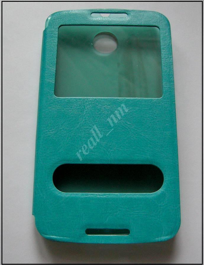 Бирюзовый кожаный чехол-книжка для смартфона Motorola Nexus 6  XT1100 XT1103