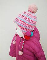 Яркая Розовая Зимняя Детская Шапка На Завязках. Шапочка С Бубонами На Флисе Очень Теплая PEZZO D'ORO, Италия