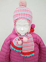 Яркий Розовый Детский Комплект Шапка И Шарф Для Девочек.Шапка На Завязках С Бубонами PEZZO D'ORO Италия