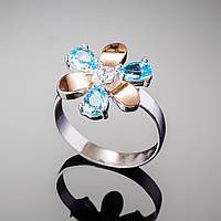 Кольцо серебряное с золотом и цирконами. Колечко в виде цветка