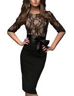 Комбинированное платье - миди с рукавом 1/2 ++ БОЛЬШИЕ РАЗМЕРЫ!