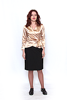 Блуза   682-08 атласная, на запах , с укороченным рукавом.