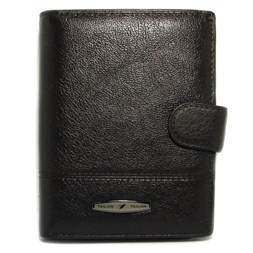 Мужское кожаное портмоне-документница Tailian T265D-12H09-B black с отделением для паспорта
