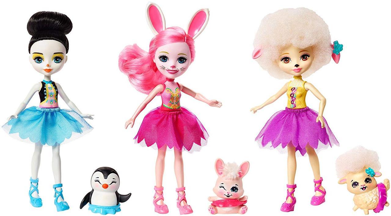 Энчантималс  набор из 3 -х кукол  Подружки балерины с питомцами - Enchantimals Ballet Cuties