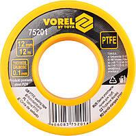 Фум - лента тефлоновая уплотнительная, L - 12 м, b - 12 мм, h - 0,1мм - VOREL, фото 1