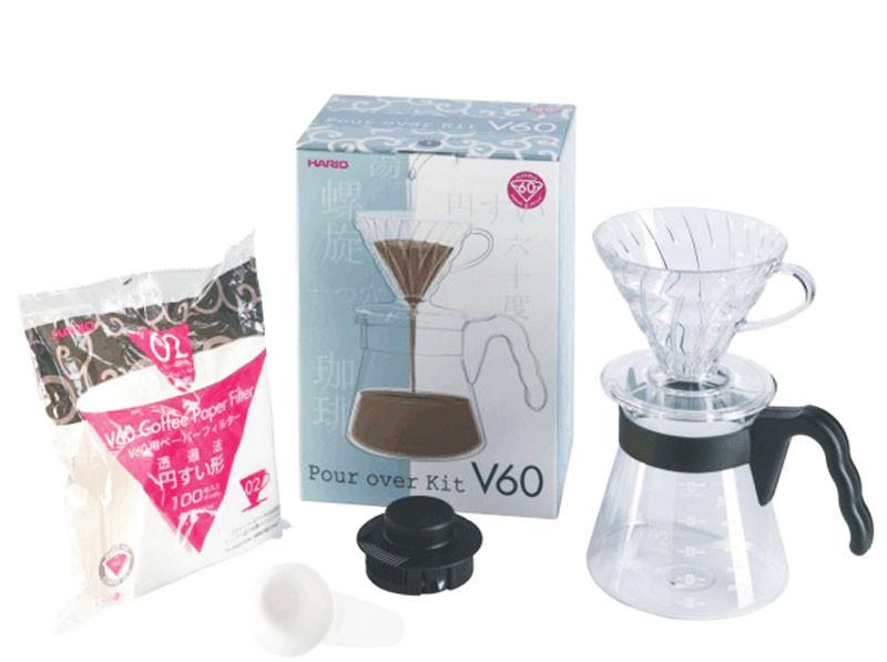 Подарочный набор для кофе: Пуровер Hario 02 пластик, Сервировочный заварник, Фильтры